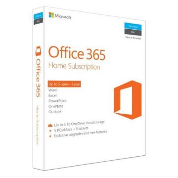 Microsoft Office 365 Home, 15 Licences (5 PCs, 5 Tablets, 5 Phones), 1 Year Subscription